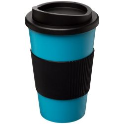 Americano® 350 ml insulated tumbler with grip, PP Plastic, Silicone, aqua blue, solid black