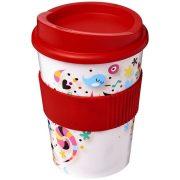 Brite-Americano® medio 300 ml tumbler with grip, PP Plastic, Silicone, Red