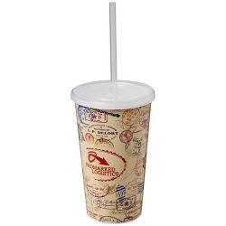 Brite-Americano® 350 ml double-walled stadium cup, PP Plastic, Silicone, White