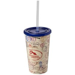 Brite-Americano® 350 ml double-walled stadium cup, PP Plastic, Silicone, Blue