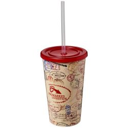 Brite-Americano® 350 ml double-walled stadium cup, PP Plastic, Silicone, Red