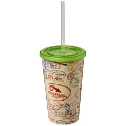 Brite-Americano® 350 ml double-walled stadium cup, PP Plastic, Silicone, Lime