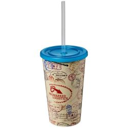 Brite-Americano® 350 ml double-walled stadium cup, PP Plastic, Silicone, Light blue