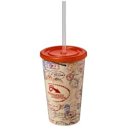 Brite-Americano® 350 ml double-walled stadium cup, PP Plastic, Silicone, Orange