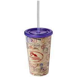 Brite-Americano® 350 ml double-walled stadium cup, PP Plastic, Silicone, Purple