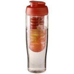 H2O Tempo® 700 ml flip lid sport bottle & infuser, PET, PP Plastic, Transparent,Orange