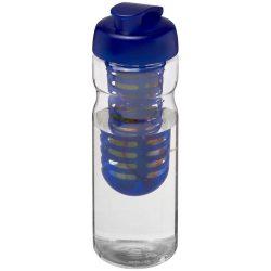H2O Base® 650 ml flip lid sport bottle & infuser, PET, PP Plastic, Transparent, Blue