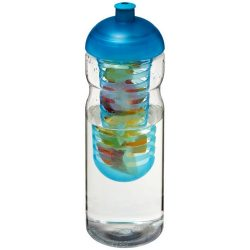 H2O Base® 650 ml dome lid sport bottle & infuser, PET, PP Plastic, Transparent,aqua blue