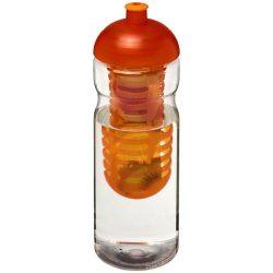 H2O Base® 650 ml dome lid sport bottle & infuser, PET, PP Plastic, Transparent,Orange