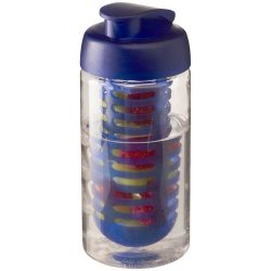 H2O Bop® 500 ml flip lid sport bottle & infuser, PET, PP Plastic, Transparent, Blue