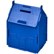 Uri house-shaped plastic money container, GPPS Plastic, Blue