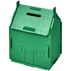Uri house-shaped plastic money container, GPPS Plastic, Green