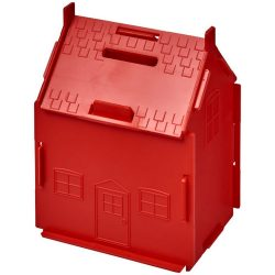 Uri house-shaped plastic money container, GPPS Plastic, Red