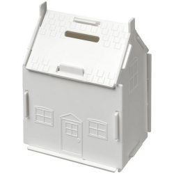 Uri house-shaped plastic money container, GPPS Plastic, White