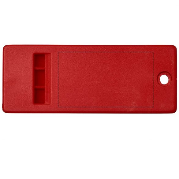 Wanda flat whistle with large branding surface, PP Plastic, Red