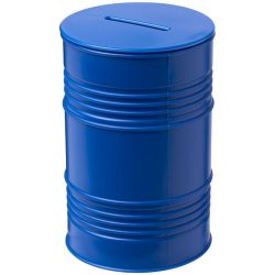 Banc oil drum money pot, GPPS Plastic, Blue