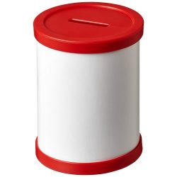 Deva round card pen holder with plastic trim, Cardboard and GPPS Plastic, Red