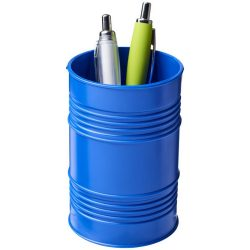 Bardo oil drum style plastic pen pot, GPPS Plastic, Blue