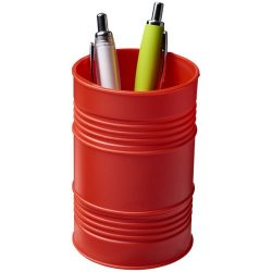 Bardo oil drum style plastic pen pot, GPPS Plastic, Red