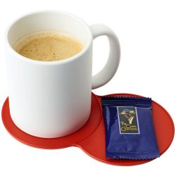 Bit-on-the-side plastic coaster, GPPS Plastic, Red