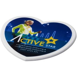Cait heart-shaped coaster, EVA foam and laminated paper, White