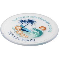 Renzo round plastic coaster, GPPS Plastic, transparent clear