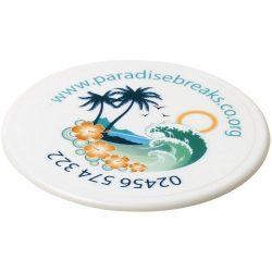 Renzo round plastic coaster, GPPS Plastic, White