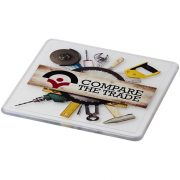 Renzo square plastic coaster, GPPS Plastic, transparent clear