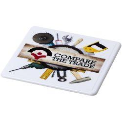Renzo square plastic coaster, GPPS Plastic, White