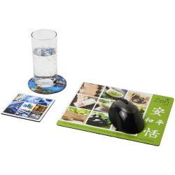 Q-Mat® mouse mat and coaster set combo 1, EVA foam, laminated paper, solid black
