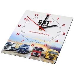 Brite-Clock® rectangular wall clock, Laminated paper and recycled plastics,  solid black