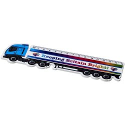 Loki 15 cm lorry shaped plastic ruler, GPPS Plastic, White