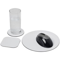 Brite-Mat® mouse mat and coaster set combo 4, Recycled plastic, gloss paper, and black masterbatch, solid black