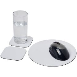 Brite-Mat® mouse mat and coaster set combo 6, Recycled plastic, gloss paper, and black masterbatch, solid black