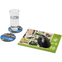Q-Mat® mouse mat and coaster set combo 2, EVA foam with laminated paper , solid black