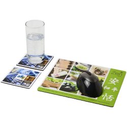 Q-Mat® mouse mat and coaster set combo 3, EVA foam with laminated paper , solid black