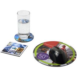 Q-Mat® mouse mat and coaster set combo 4, EVA foam with laminated paper , solid black