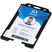 Pierre transparent badge holder, GPPS Plastic, solid black