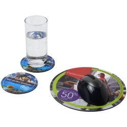 Q-Mat® mouse mat and coaster set combo 5, EVA foam with laminated paper , solid black
