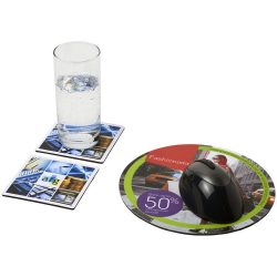 Q-Mat® mouse mat and coaster set combo 6, Recycled plastic, gloss paper and black masterbatch, solid black