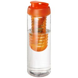 H2O Vibe 850 ml flip lid bottle & infuser, PET Plastic, PP Plastic, Transparent,Orange