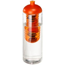 H2O Vibe 850 ml dome lid bottle & infuser, PET Plastic, PP Plastic, Transparent,Orange