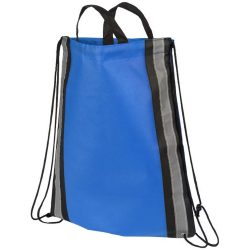 Reflective non-woven drawstring backpack, Non-woven polypropylene, Royal blue
