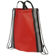 Reflective non-woven drawstring backpack, Non-woven polypropylene, Red