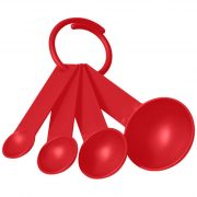 Ness plastic measuring spoon set with 4 sizes, PP Plastic, Red