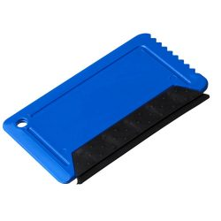 Freeze credit card sized ice scraper with rubber, GPPS Plastic, Blue