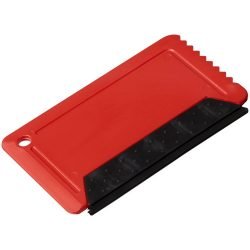 Freeze credit card sized ice scraper with rubber, GPPS Plastic, Red