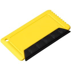 Freeze credit card sized ice scraper with rubber, GPPS Plastic, Yellow