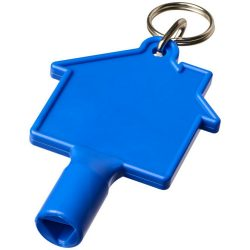 Maximilian house-shaped meterbox key with keychain, ABS Plastic, Blue