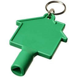 Maximilian house-shaped meterbox key with keychain, ABS Plastic, Green